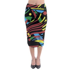 Optimistic Abstraction Midi Pencil Skirt by Valentinaart