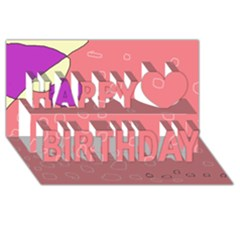 Pink Abstraction Happy Birthday 3d Greeting Card (8x4)  by Valentinaart