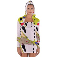 Yellow Abstraction Women s Long Sleeve Hooded T-shirt by Valentinaart
