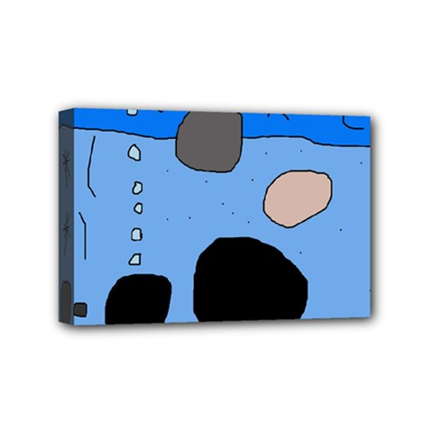 Blue Abstraction Mini Canvas 6  X 4  by Valentinaart