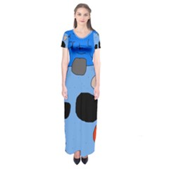 Blue Abstraction Short Sleeve Maxi Dress by Valentinaart