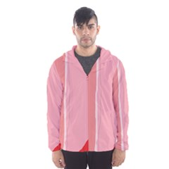 Red And Pink Lines Hooded Wind Breaker (men) by Valentinaart