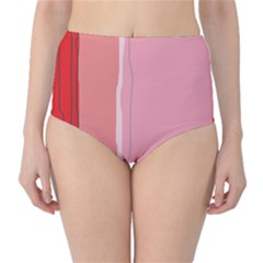 Red And Pink Lines High-waist Bikini Bottoms by Valentinaart