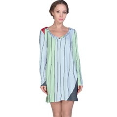Decorative Lines Long Sleeve Nightdress by Valentinaart