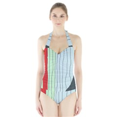 Decorative Lines Halter Swimsuit by Valentinaart
