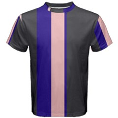 Purple, Pink And Gray Lines Men s Cotton Tee by Valentinaart