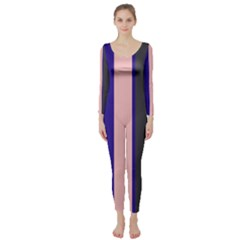 Purple, Pink And Gray Lines Long Sleeve Catsuit by Valentinaart