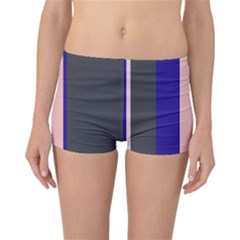 Purple, Pink And Gray Lines Reversible Boyleg Bikini Bottoms by Valentinaart