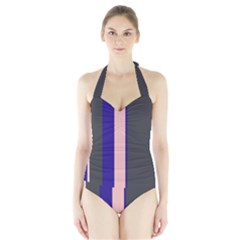 Purple, Pink And Gray Lines Halter Swimsuit by Valentinaart