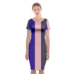 Purple, Pink And Gray Lines Classic Short Sleeve Midi Dress by Valentinaart