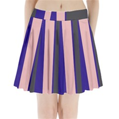 Purple, Pink And Gray Lines Pleated Mini Mesh Skirt(p209) by Valentinaart