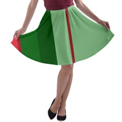 Green And Red Design A-line Skater Skirt by Valentinaart