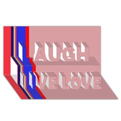 Pink Elegant Lines Laugh Live Love 3d Greeting Card (8x4)  by Valentinaart