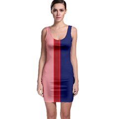 Pink And Blue Lines Sleeveless Bodycon Dress by Valentinaart