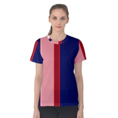 Pink And Blue Lines Women s Cotton Tee by Valentinaart