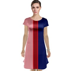 Pink And Blue Lines Cap Sleeve Nightdress by Valentinaart