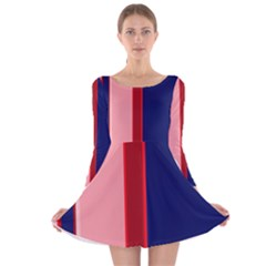 Pink And Blue Lines Long Sleeve Velvet Skater Dress by Valentinaart