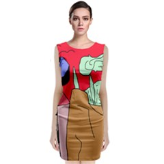 Imaginative Abstraction Classic Sleeveless Midi Dress by Valentinaart