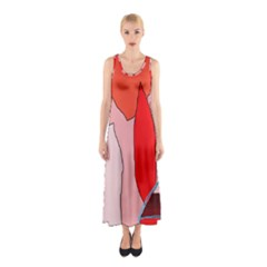 Red Landscape Sleeveless Maxi Dress by Valentinaart