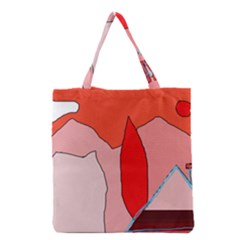 Red Landscape Grocery Tote Bag by Valentinaart