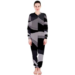 Black And Gray Design Onepiece Jumpsuit (ladies)  by Valentinaart