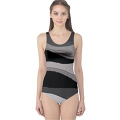 Black And Gray Design One Piece Swimsuit by Valentinaart