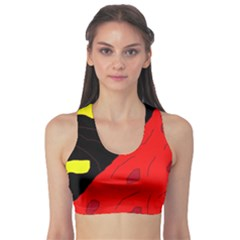 Red Abstraction Sports Bra by Valentinaart