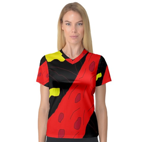 Red Abstraction Women s V-neck Sport Mesh Tee by Valentinaart