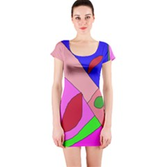 Pink Abstraction Short Sleeve Bodycon Dress by Valentinaart