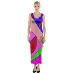 Pink Abstraction Fitted Maxi Dress by Valentinaart