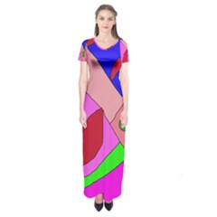 Pink Abstraction Short Sleeve Maxi Dress by Valentinaart