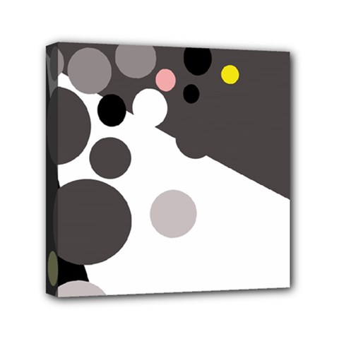 Gray, Yellow And Pink Dots Mini Canvas 6  X 6  by Valentinaart