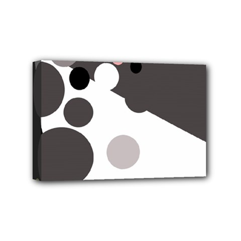 Gray, Yellow And Pink Dots Mini Canvas 6  X 4  by Valentinaart