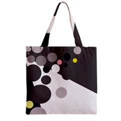 Gray, Yellow And Pink Dots Grocery Tote Bag by Valentinaart