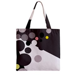 Gray, Yellow And Pink Dots Zipper Grocery Tote Bag by Valentinaart