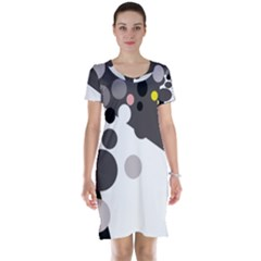 Gray, Yellow And Pink Dots Short Sleeve Nightdress by Valentinaart