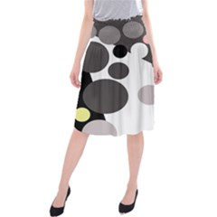 Gray, Yellow And Pink Dots Midi Beach Skirt by Valentinaart