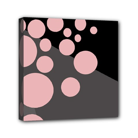 Pink Dots Mini Canvas 6  X 6  by Valentinaart