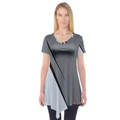 Elegant Gray Short Sleeve Tunic  by Valentinaart