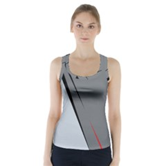 Elegant Gray Racer Back Sports Top by Valentinaart