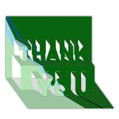 Green Design Thank You 3d Greeting Card (7x5)