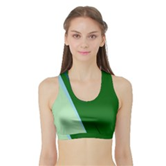 Green Design Sports Bra With Border by Valentinaart