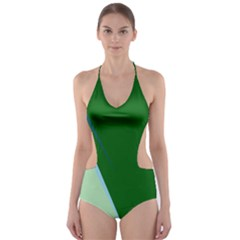 Green Design Cut-out One Piece Swimsuit by Valentinaart