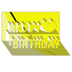 Yellow Design Happy Birthday 3d Greeting Card (8x4)  by Valentinaart