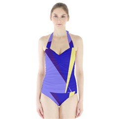 Geometrical Abstraction Halter Swimsuit by Valentinaart