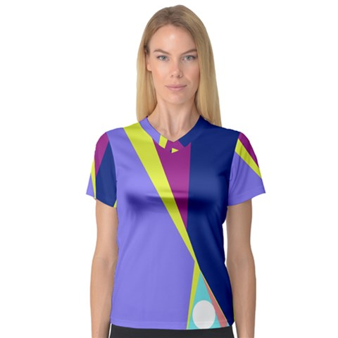 Geometrical Abstraction Women s V Neck Sport Mesh Tee by Valentinaart