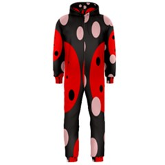 Red And Pink Dots Hooded Jumpsuit (men)  by Valentinaart