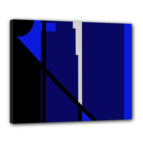 Blue Abstraction Canvas 20  X 16  by Valentinaart