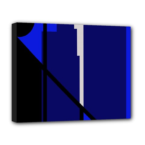 Blue Abstraction Deluxe Canvas 20  X 16   by Valentinaart