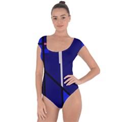 Blue Abstraction Short Sleeve Leotard  by Valentinaart